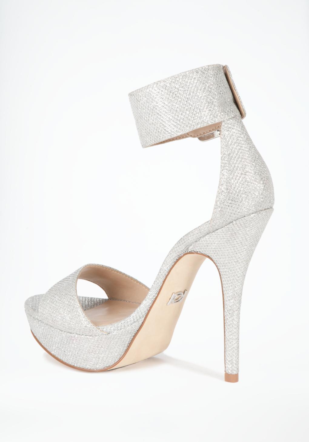 2f486311184 Lyst - Bebe Jill Glitter Mesh Ankle Sandals in White