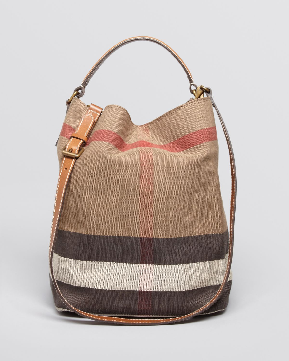 c75377fc09ab Lyst - Burberry Canvas Check Medium Ashby Hobo in Brown