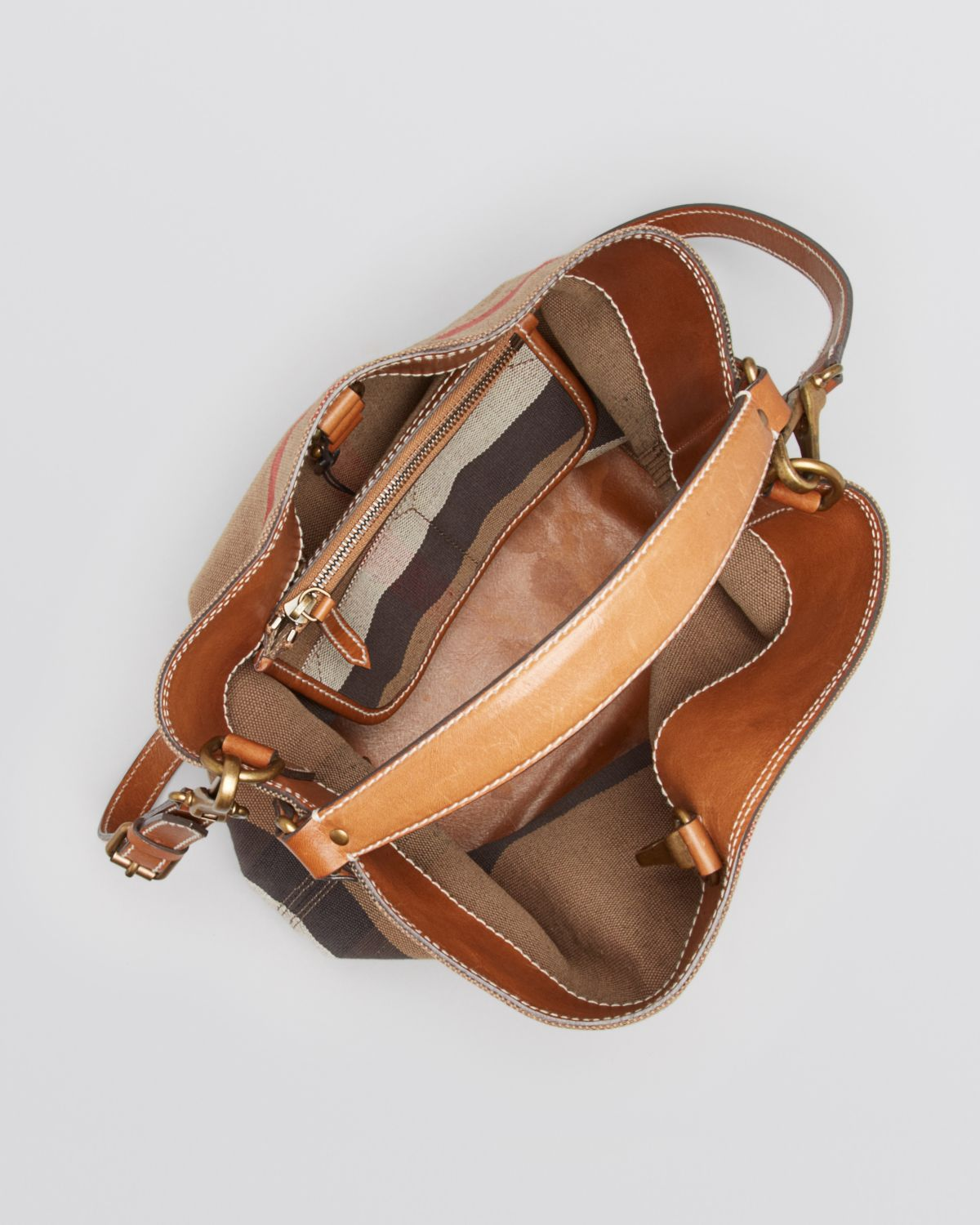 Lyst - Burberry Canvas Check Medium Ashby Hobo in Brown b4a7aed601a2c