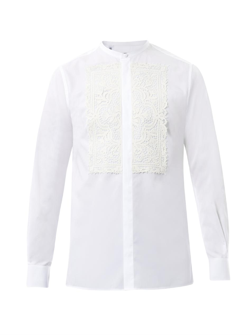 Lyst Dolce Amp Gabbana Lace Front Cotton Shirt In White