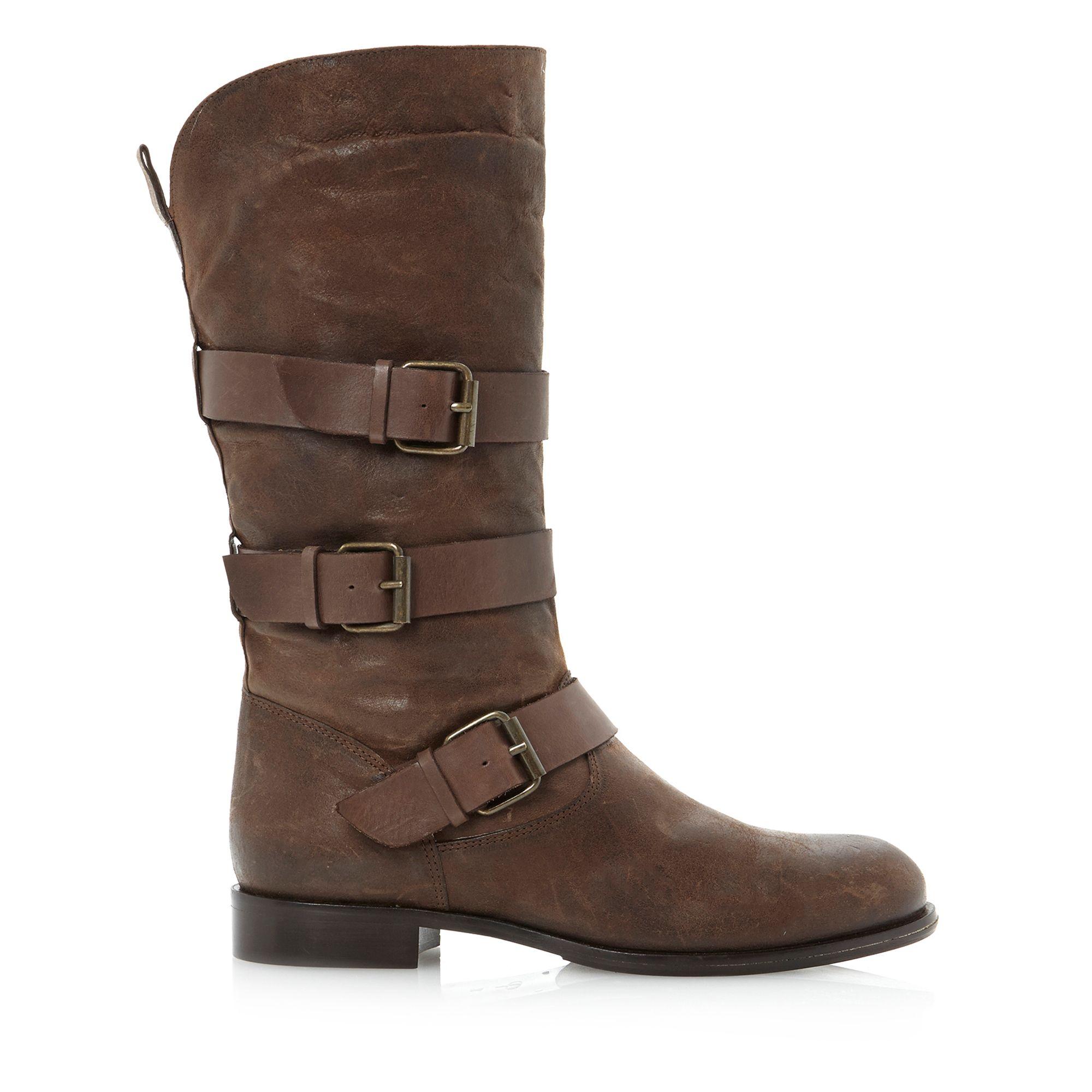 dune black pettie mutli calf boots in brown for