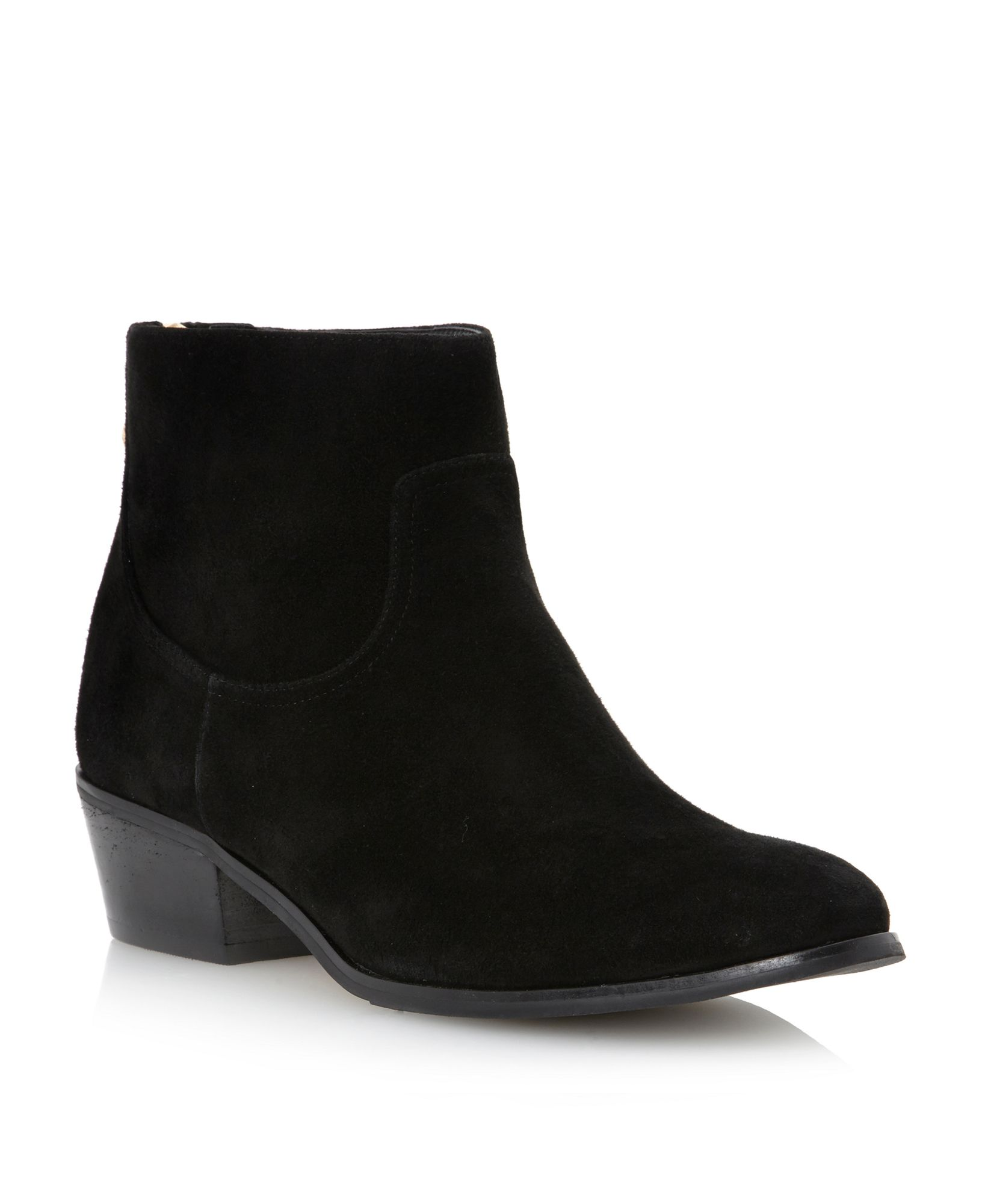 dune poz back zip detail ankle boots in black black suede