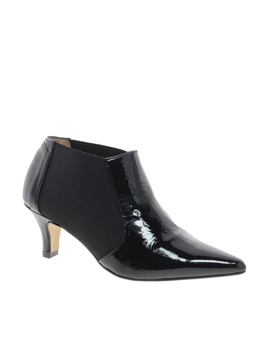 ganni patent leather kitten heel shoe boot in black lyst