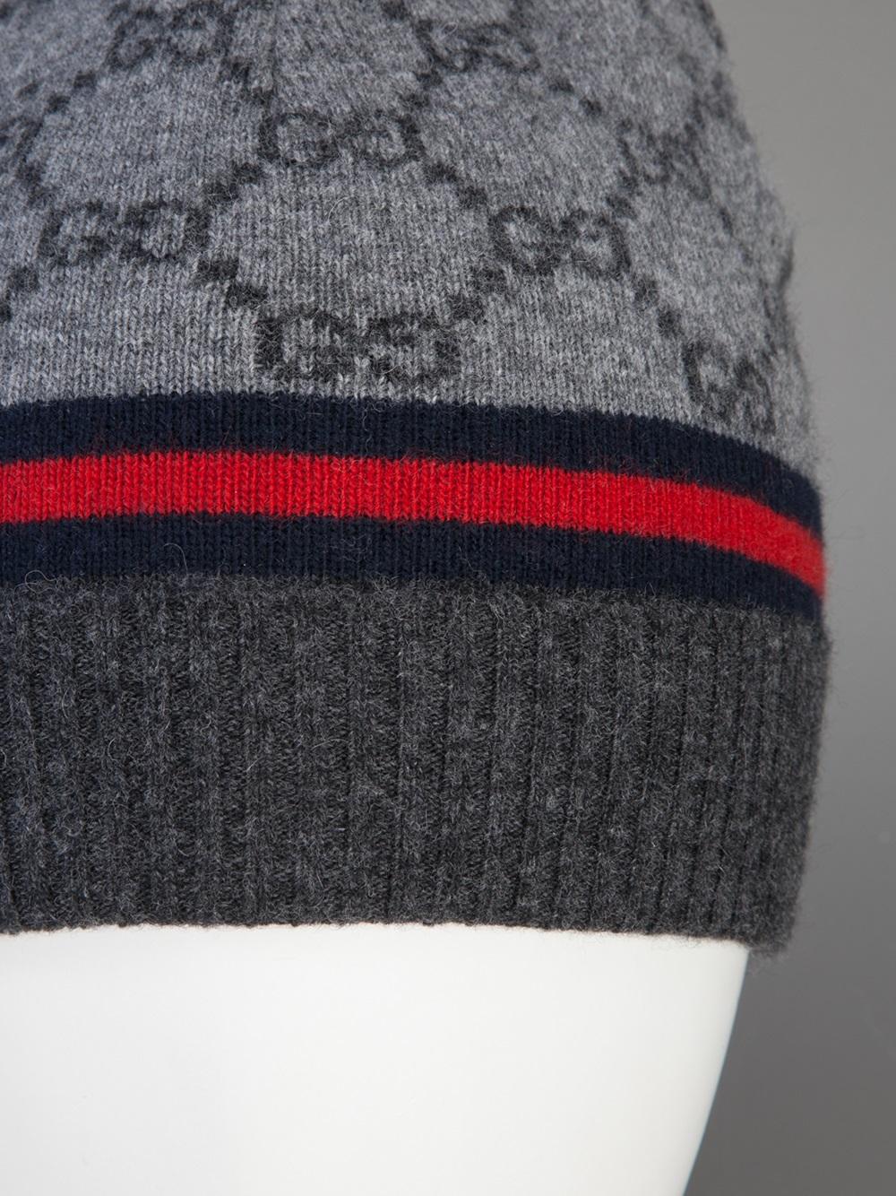eff8a35a0e73 Lyst - Gucci Monogram Beanie Hat in Gray