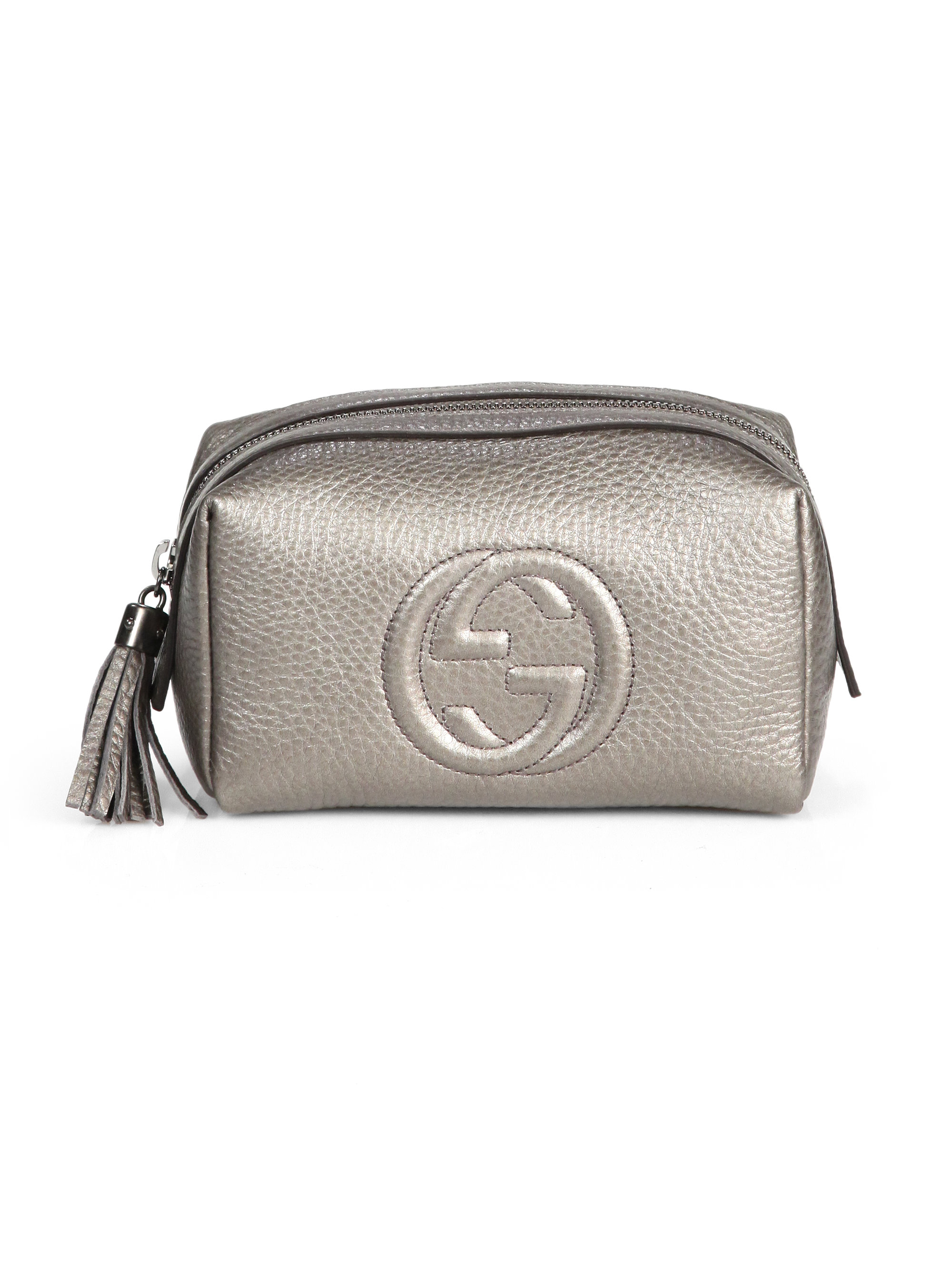 2177630a3e97 Lyst - Gucci Soho Leather Cosmetic Case in Metallic