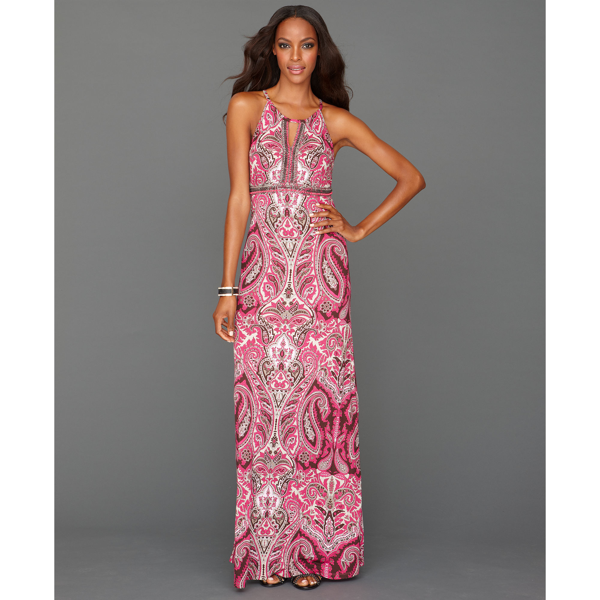 Inc international concepts Halter Paisleyprint Maxi in Purple - Lyst