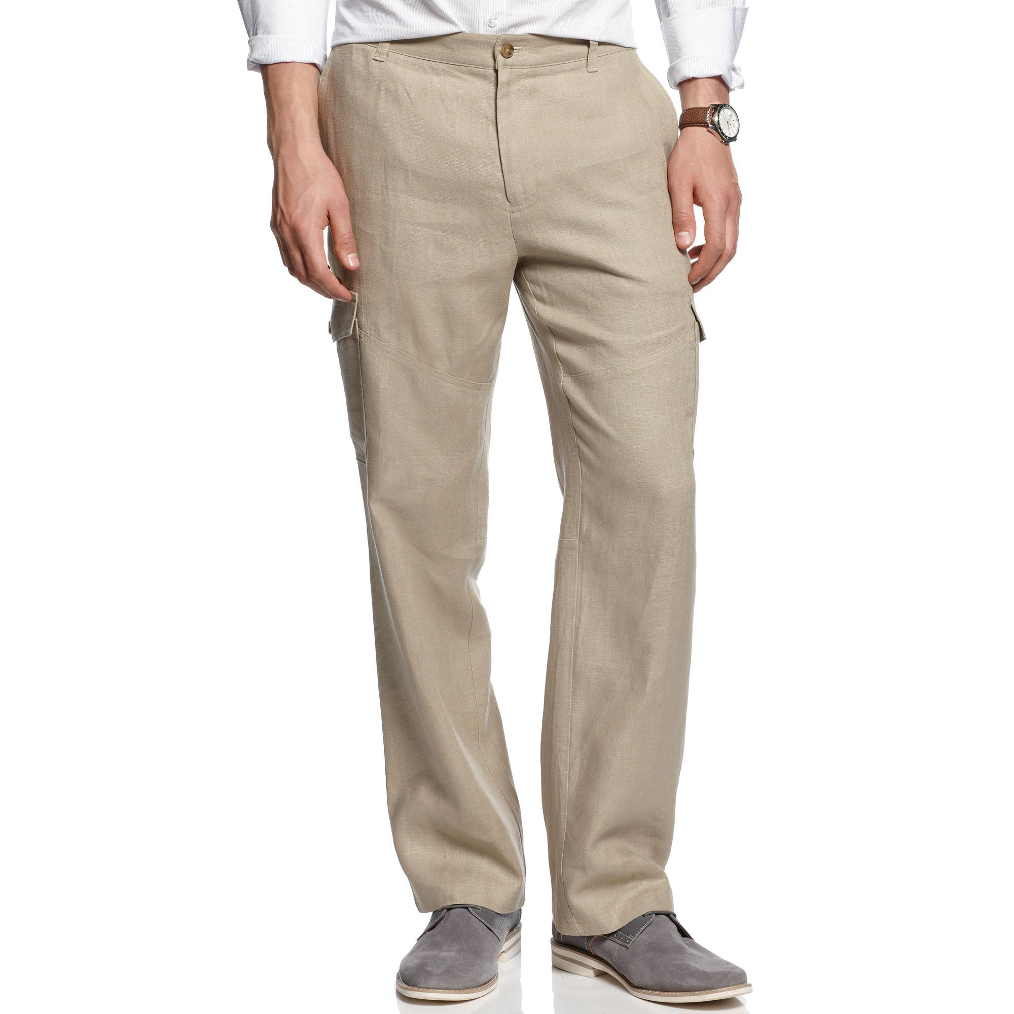 Inc International Concepts Linen Cargo Pants In Beige For