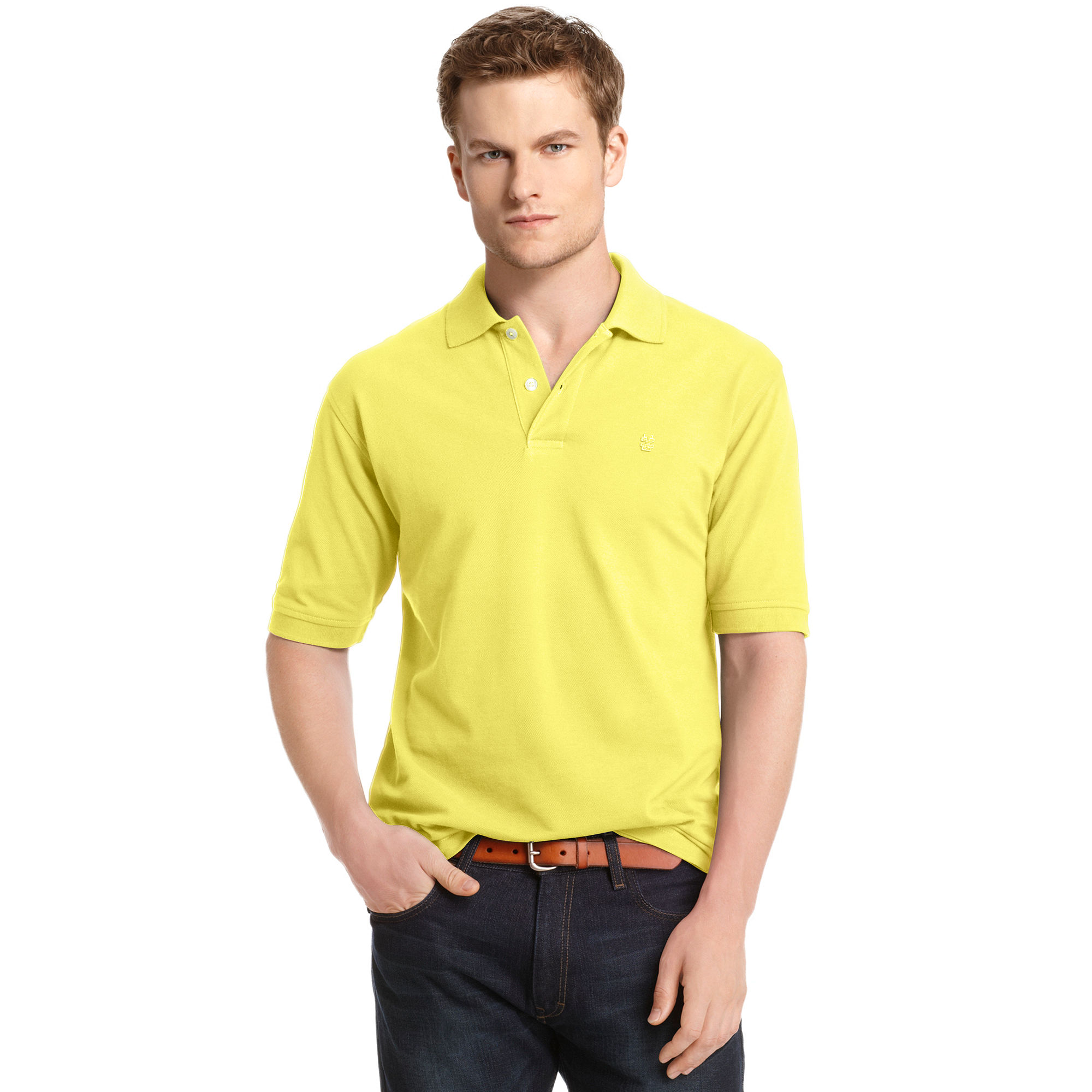 Izod Big And Tall Shirt Short Sleeve Pique Polo In Yellow
