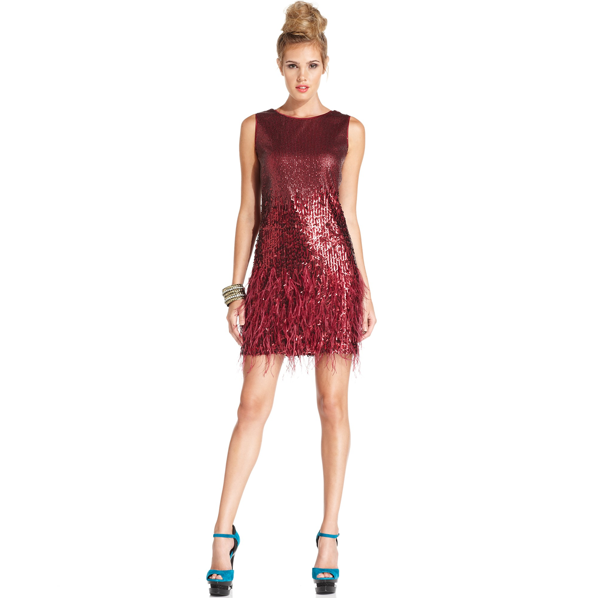 Jessica simpson Sleeveless Sequin Feather Cocktail Dress in Red | Lyst