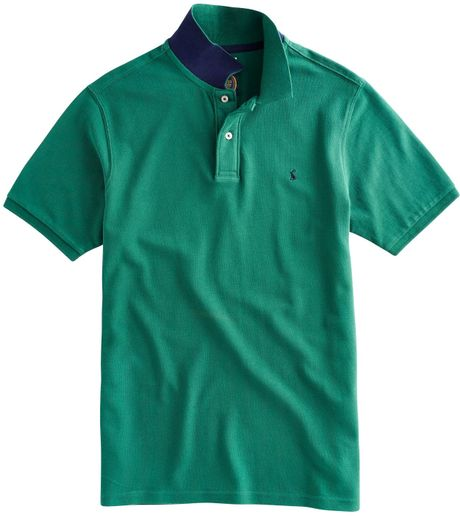 Joules contrast collar polo shirt in teal for men green for Mens teal polo shirt