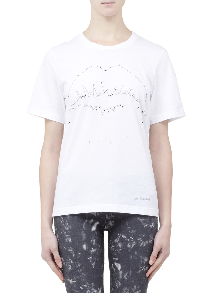 Markus Lupfer Connectthedots Lip Cotton Tshirt In White Lyst