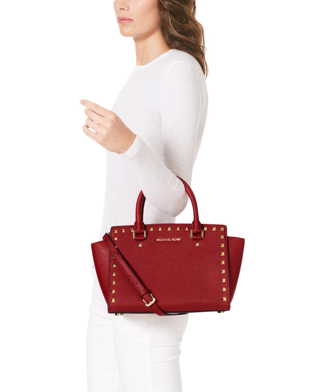 ebd18507f hot lyst michael kors michael medium selma studded satchel in red 35817  50206