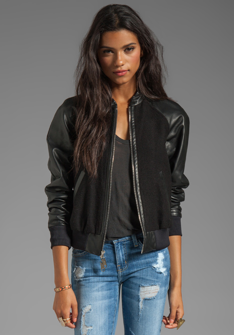 Lyst Milly Runway Kiss Jacquard Leather Sleeve Bomber Jacket In
