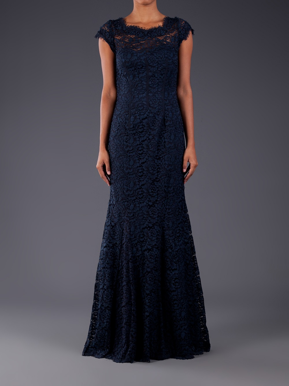 Monique Lhuillier Navy Lace Dress – fashion dresses