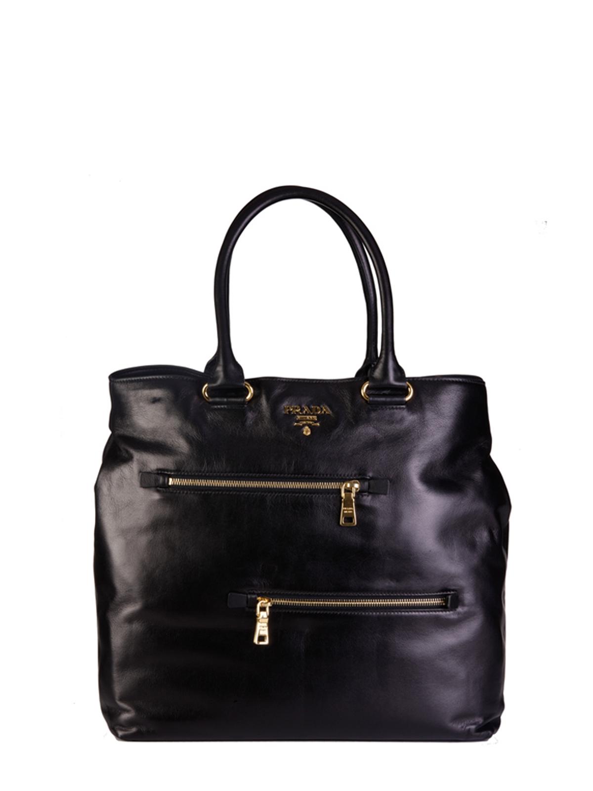 Prada Tote Laukku : Prada black soft calf leather tote in lyst