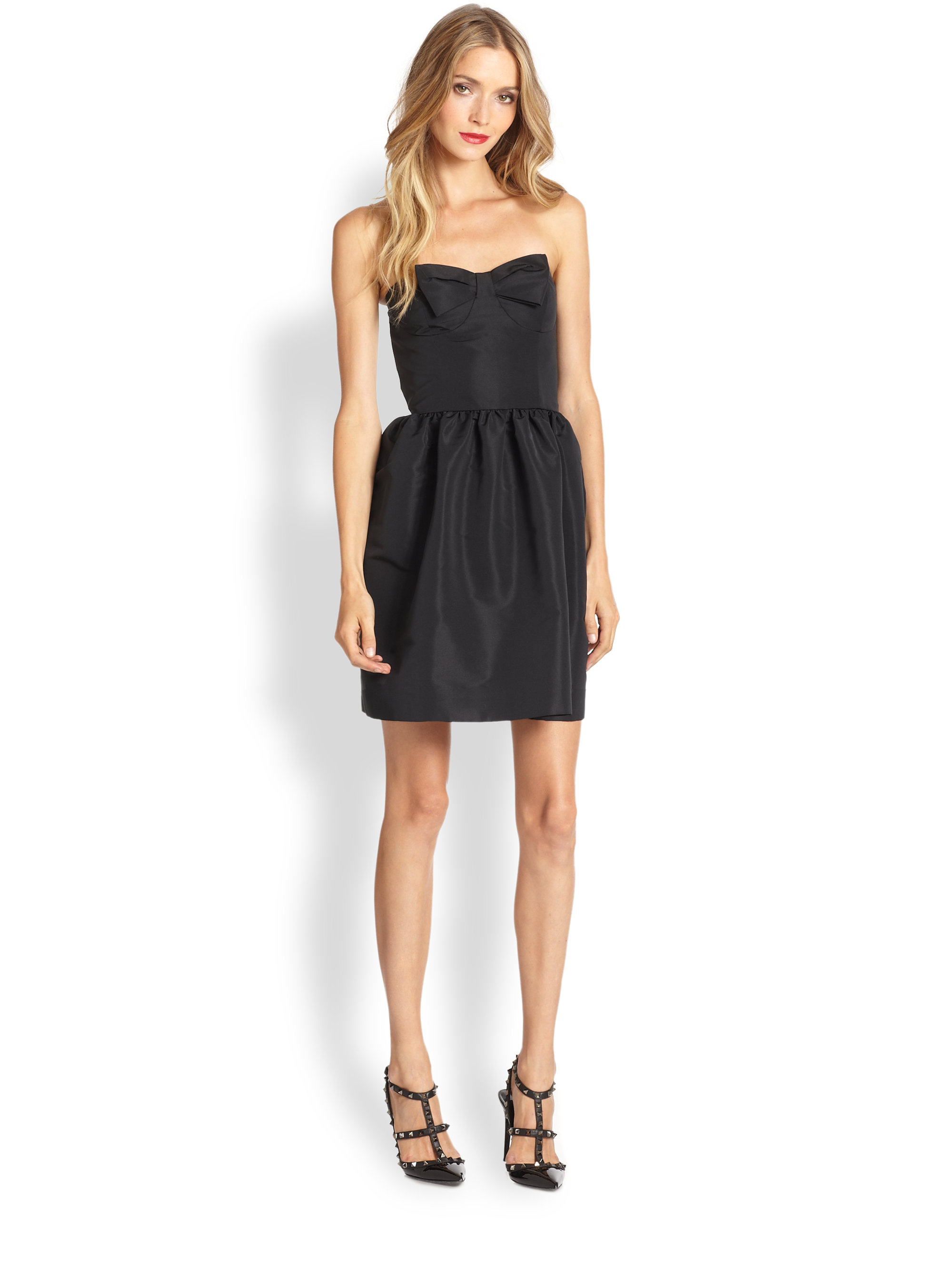 red valentino bow strapless dress in black lyst