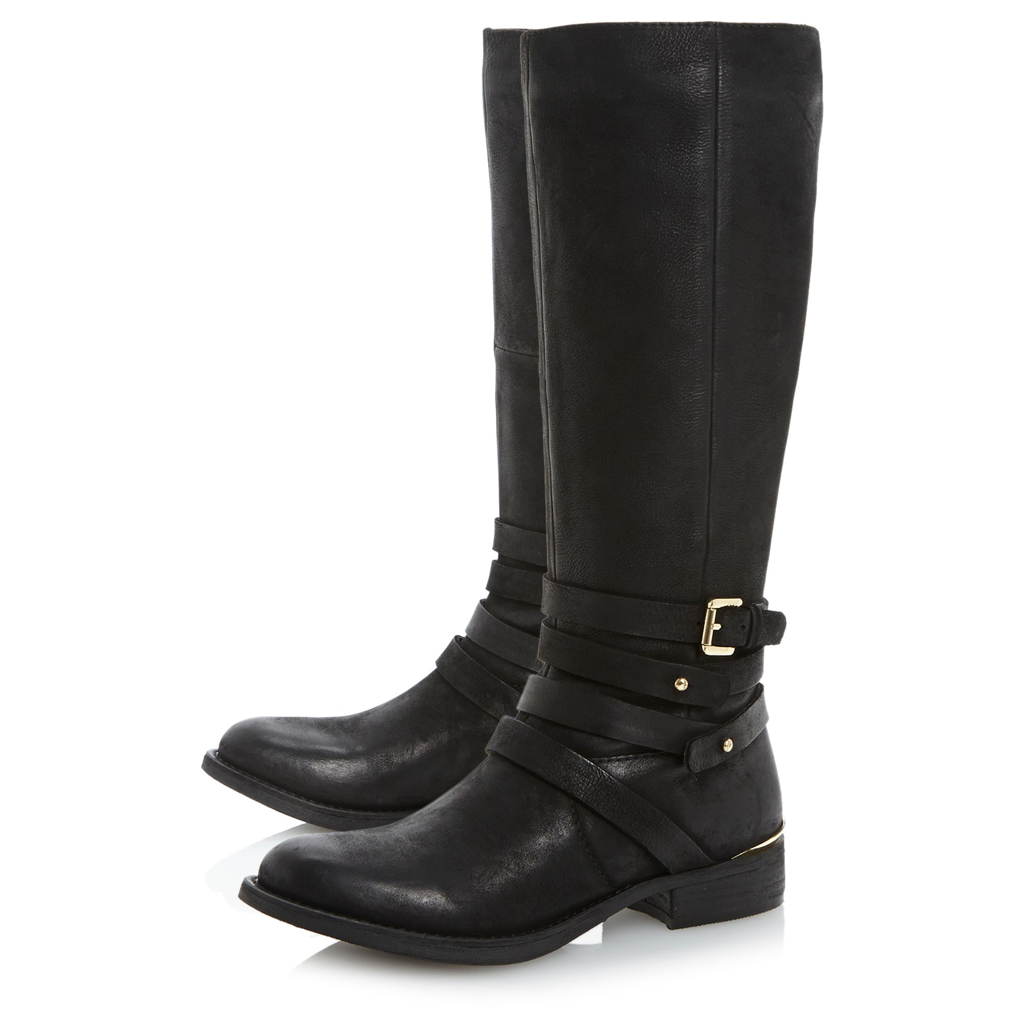 steve madden albany sm buckle knee high boots in black lyst