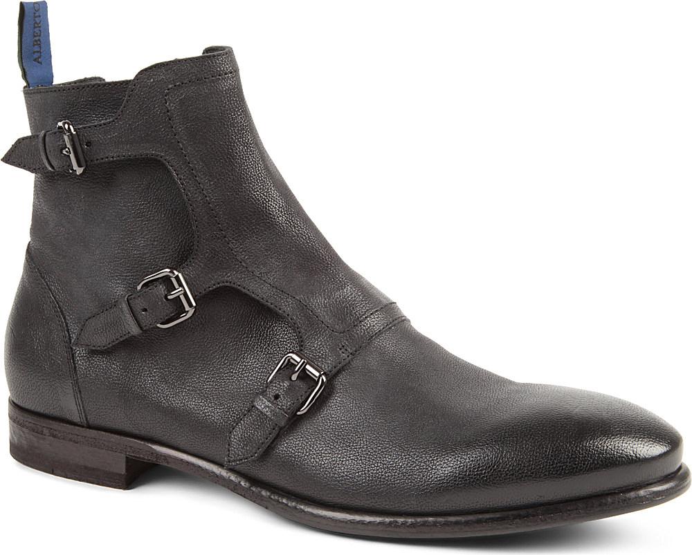 alberto guardiani bonton threestrap monk boots in gray for