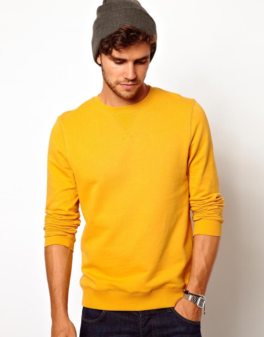 Volcom Asos Sweatshirt with Crew Neck in Yellow for Men | Lyst