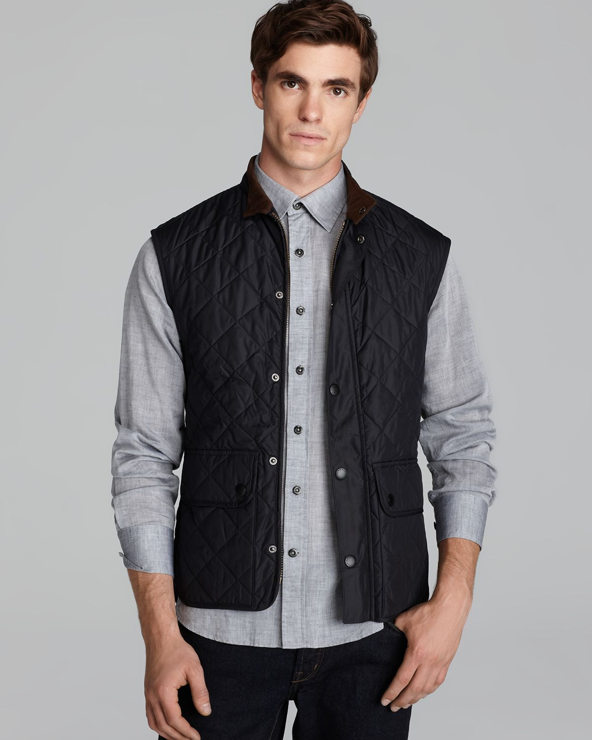 Barbour Lowerdale Quilted Polar Fleece Gilet Vest In Blue