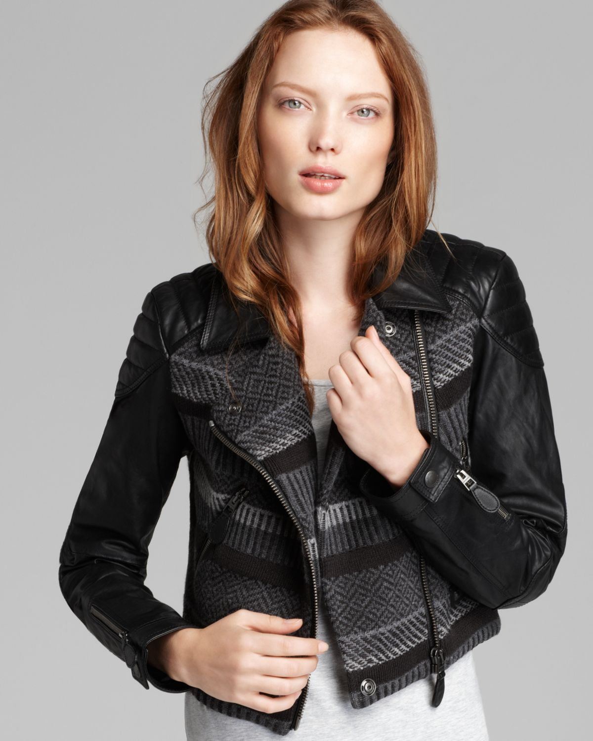 Lyst Burberry Brit Cropped Sweater Moto Jacket With Leather