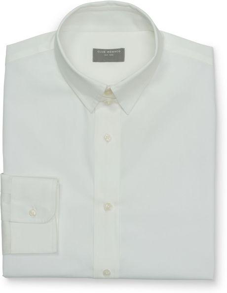 Club monaco tab collar dress shirt in white for men lyst for Mens tab collar dress shirts