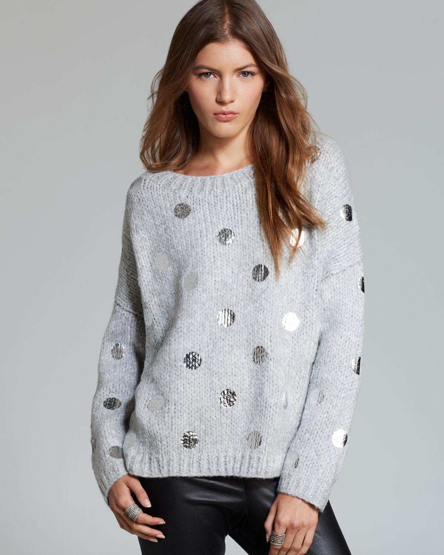 lyst elizabeth and james pullover dot print in gray. Black Bedroom Furniture Sets. Home Design Ideas