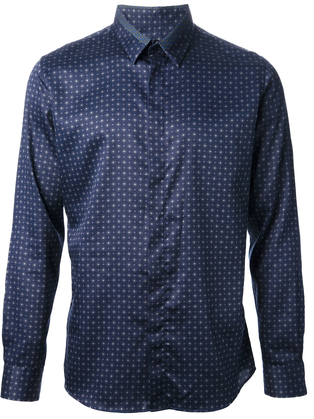 Paul smith diamond print shirt in blue for men navy lyst for Diamond and silk t shirts