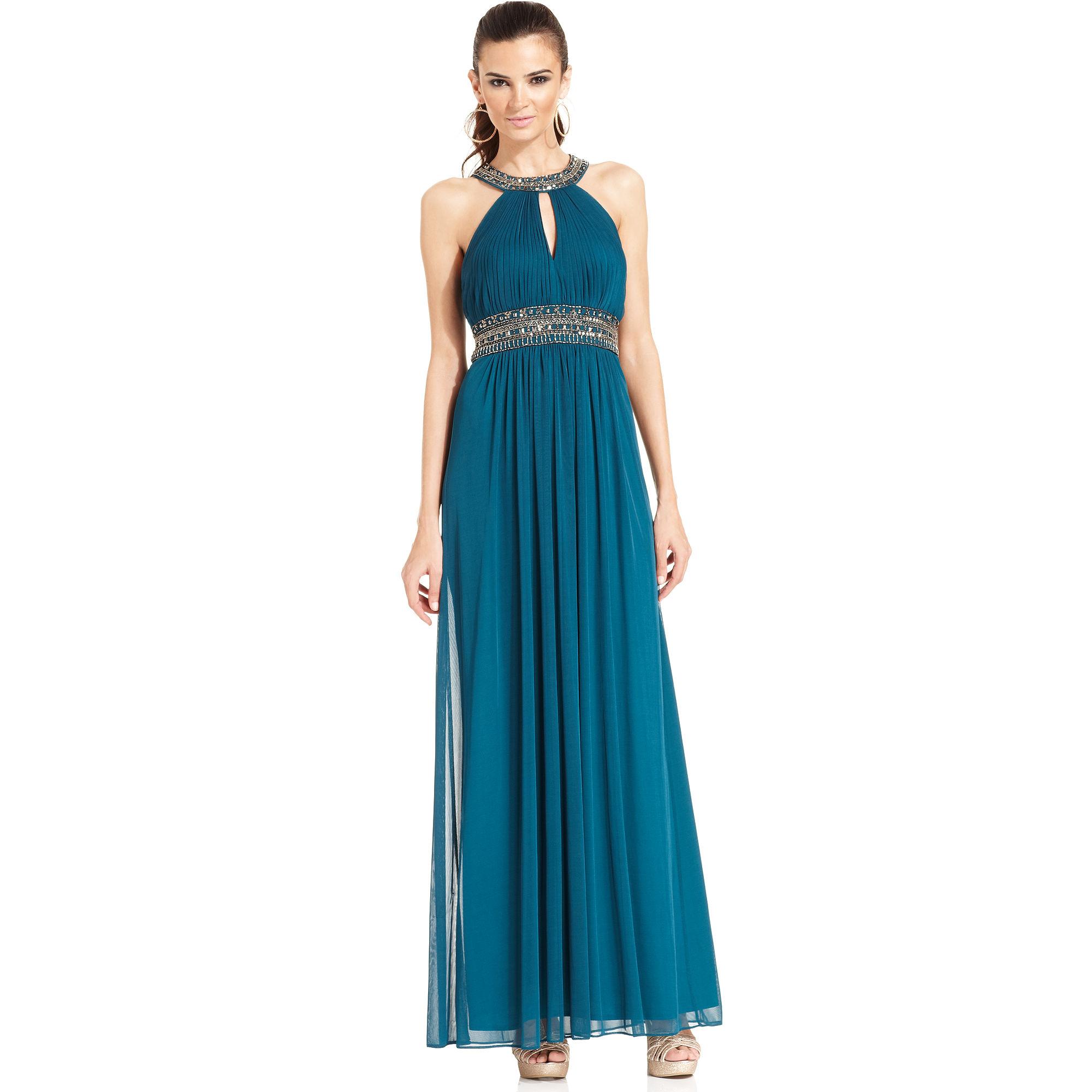 Lyst - Xscape Xscape Dress Sleeveless Jeweltrim Pleated Halter Gown ...