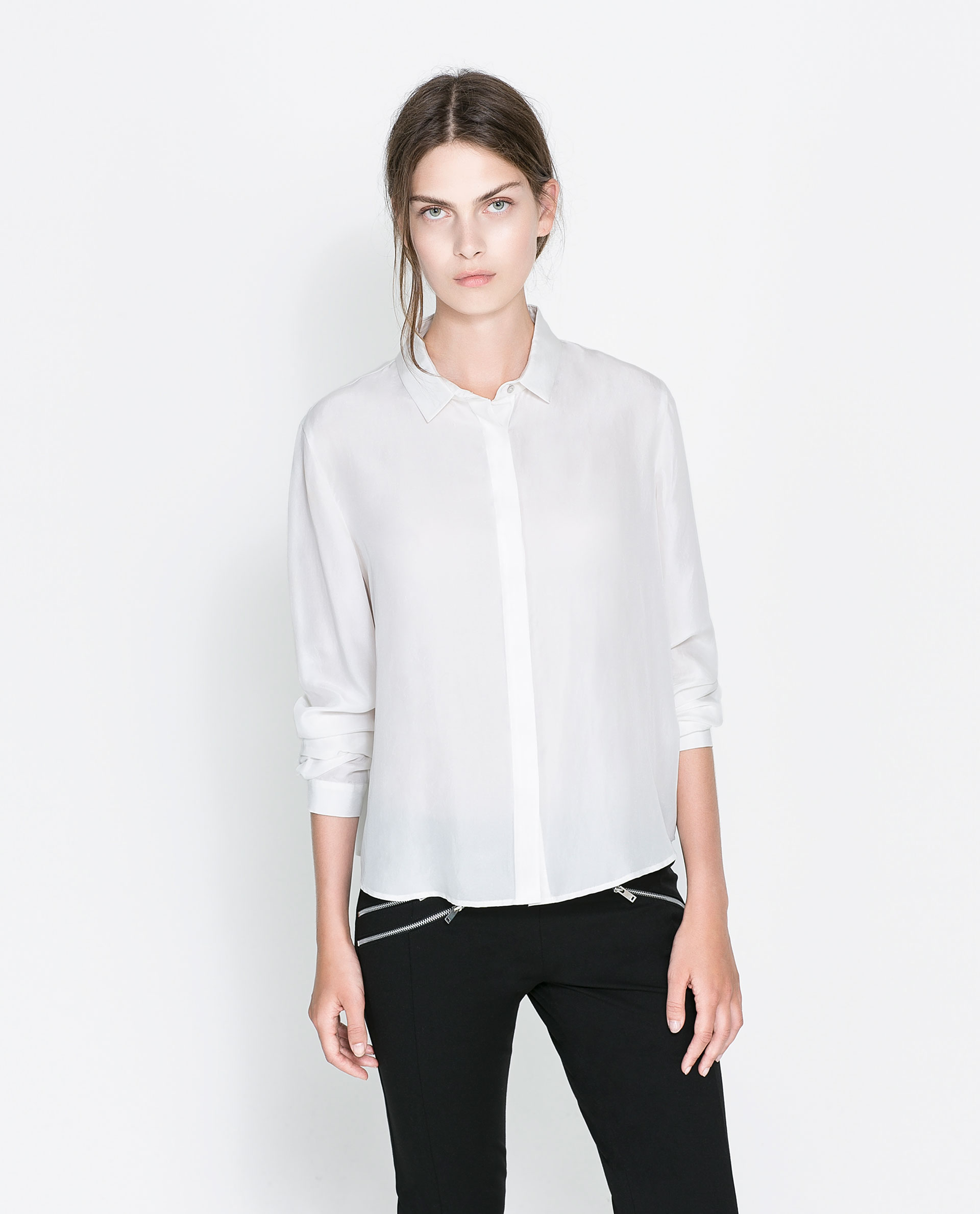 Zara White Silk Blouse 83