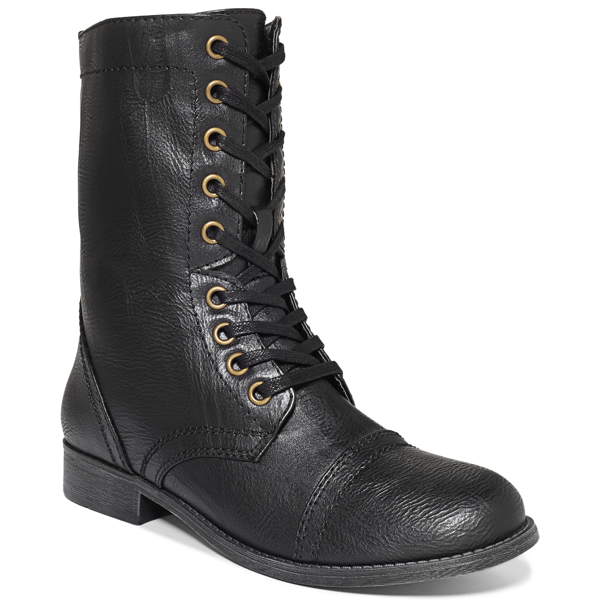 More Details Alexander McQueen Studded Lace-Up Cap-Toe Boot, Black Details Alexander McQueen smooth calf leather combat boot with silvertone studs.