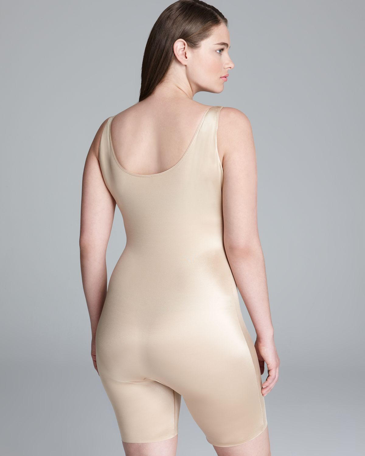 9105aa7a1a6 Spanx Plus Size Bodysuit Slimplicity Open Bust Midthigh in Natural ...