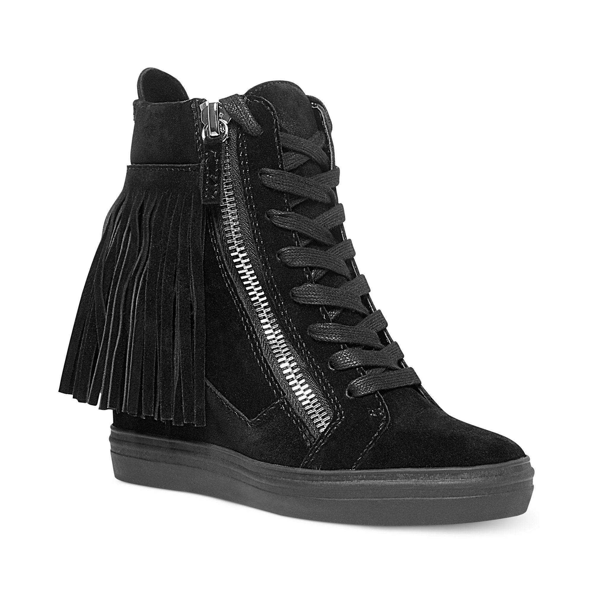 Steve Madden Georgia Fringe Wedge Sneakers In Black Lyst