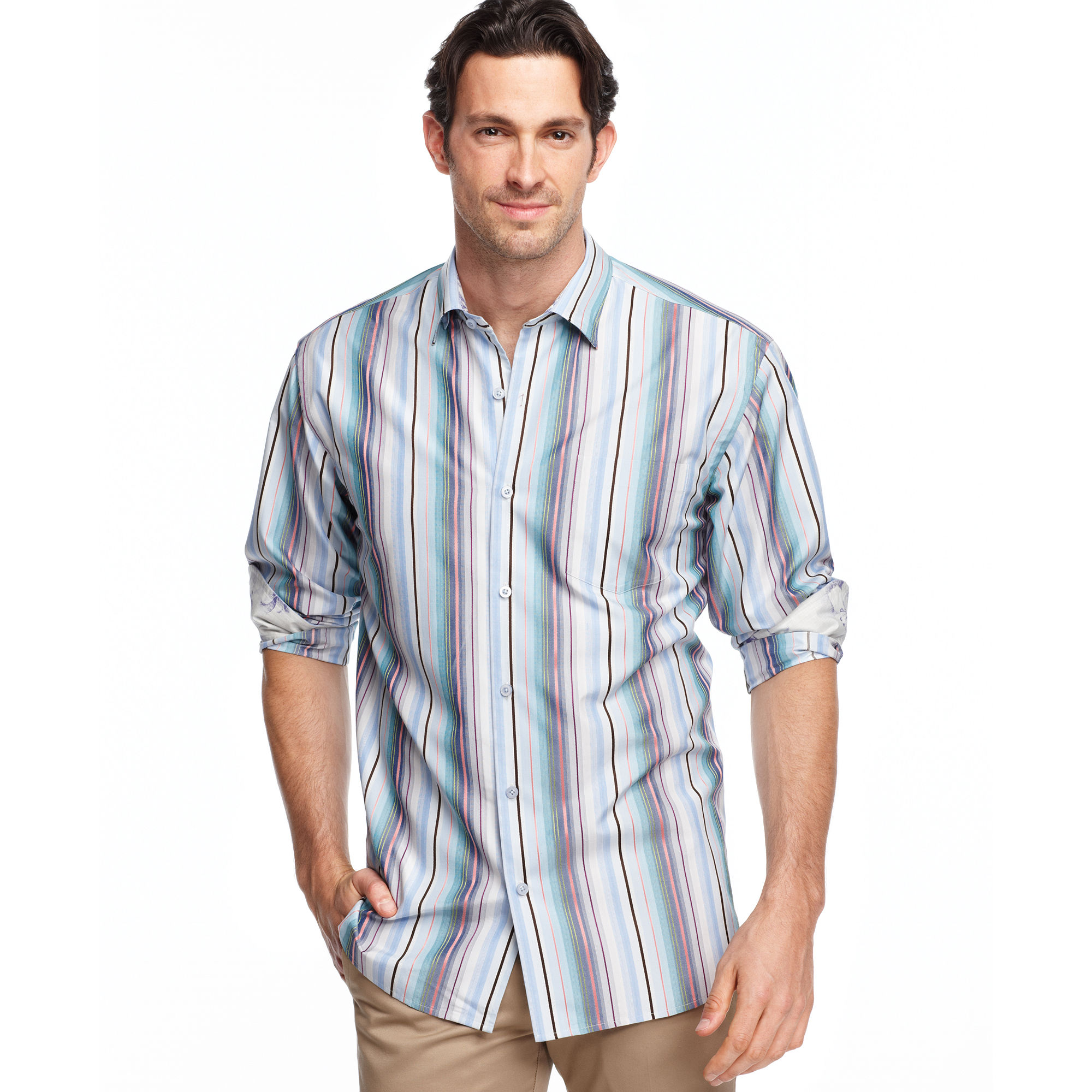 Lyst tommy bahama long sleeve menara stripe shirt in for Tommy bahama long sleeve dress shirts
