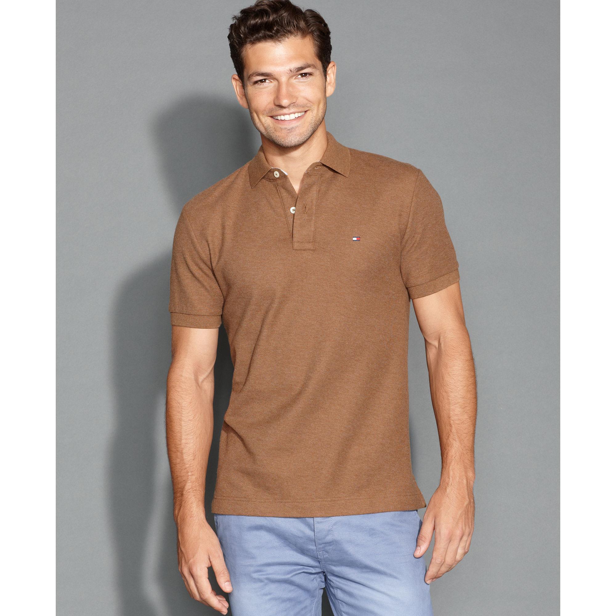 tommy hilfiger slim fit ivy polo shirt in brown for men medium blue. Black Bedroom Furniture Sets. Home Design Ideas