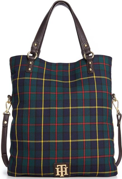 Tommy Hilfiger Back To Cool Fold Over Tote in Multicolor (Navy Plaid