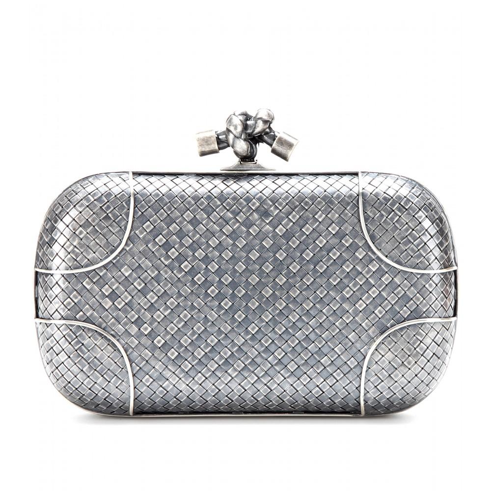 Borse Bottega Veneta Inspired : Bottega veneta knot silver clutch in metallic lyst