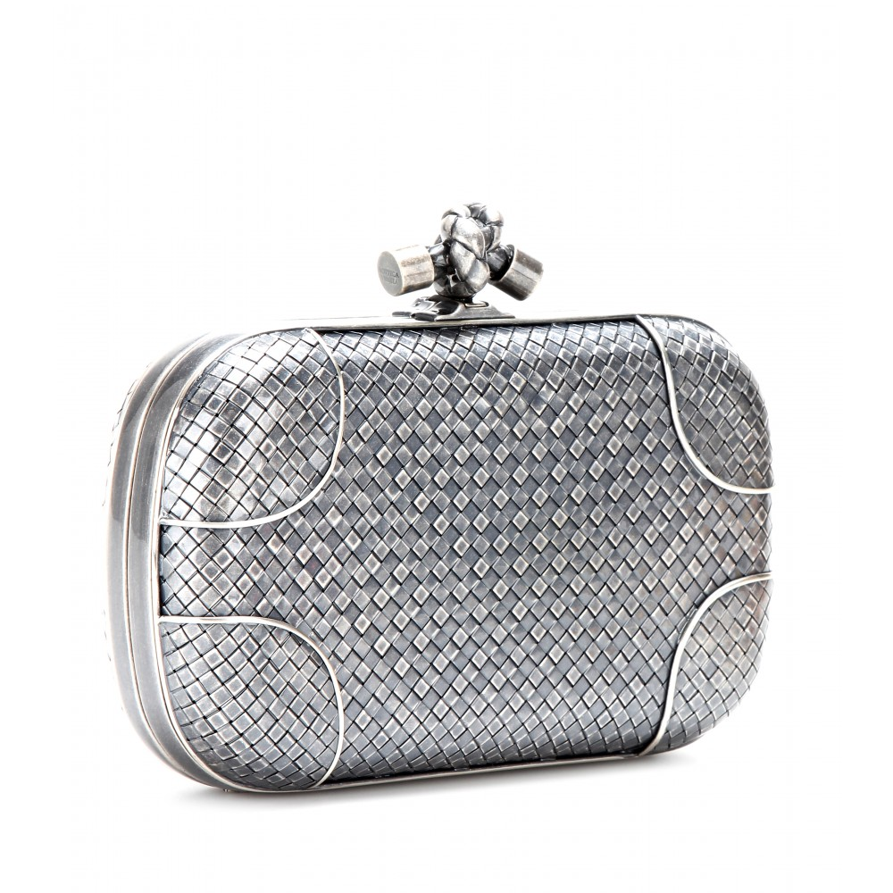 Bottega veneta Knot Silver Clutch in Metallic | Lyst