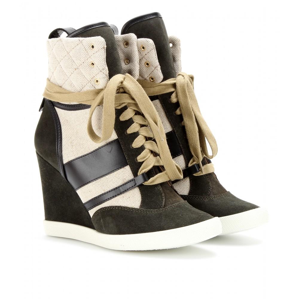 chlo 233 suede wedge sneakers in lyst
