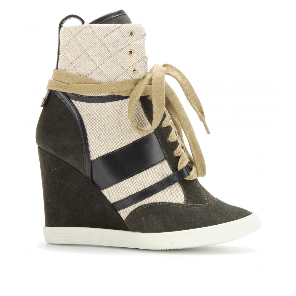 chlo suede wedge sneakers in natural lyst. Black Bedroom Furniture Sets. Home Design Ideas