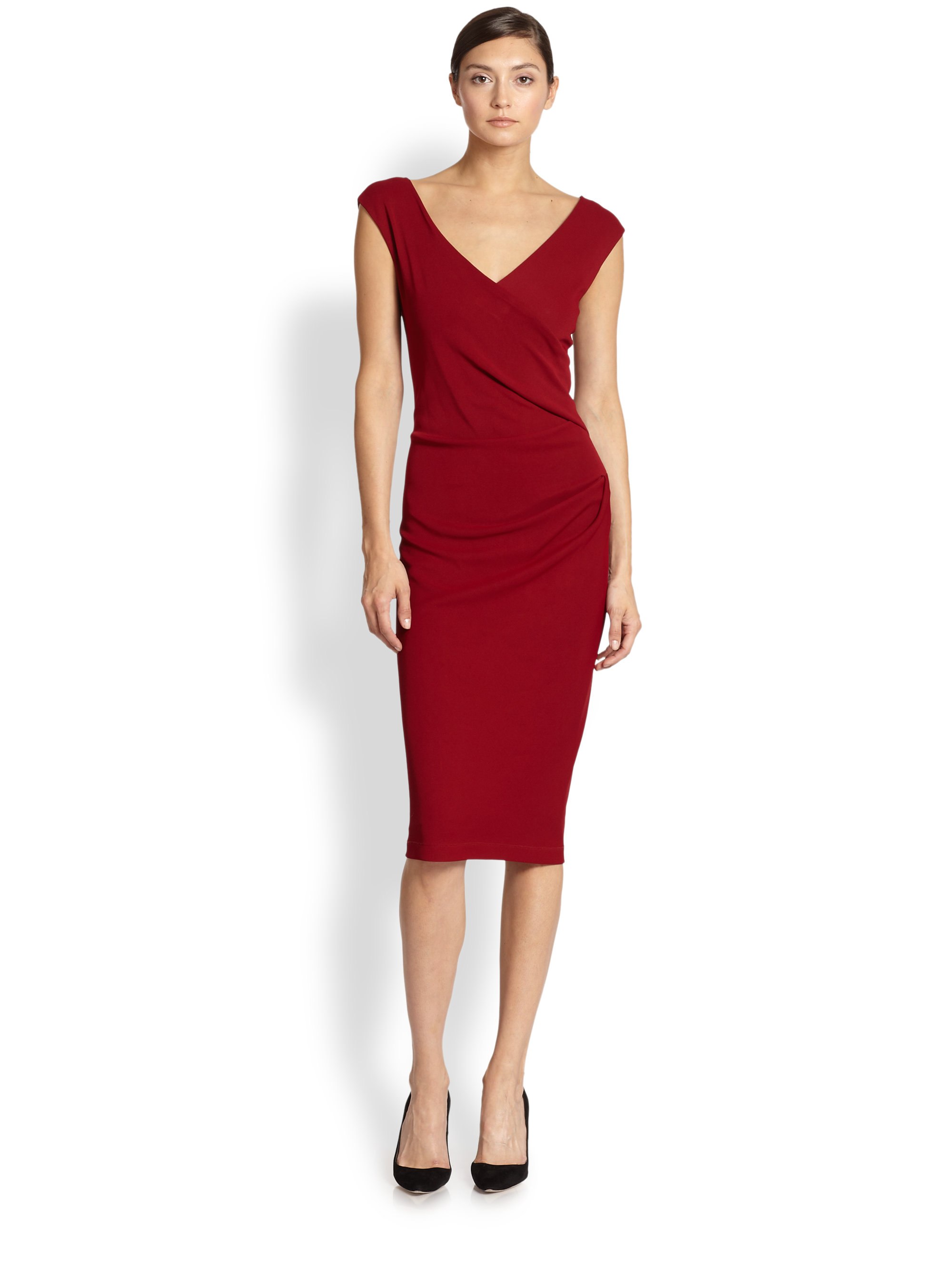 Lyst Donna Karan Capsleeve Draped Jersey Dress In Red