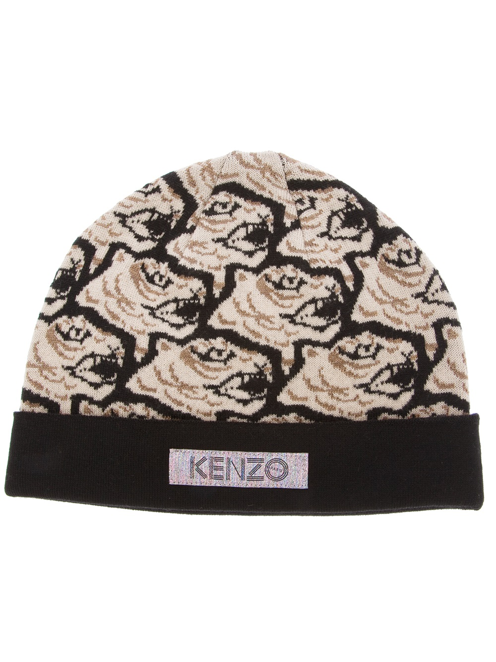 d3eca379c13 Lyst - KENZO Tiger Print Beanie Hat in Natural for Men