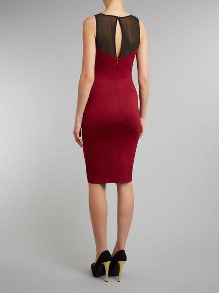 Lipsy Bodycon Side Applique Dress In Red Burgundy Lyst