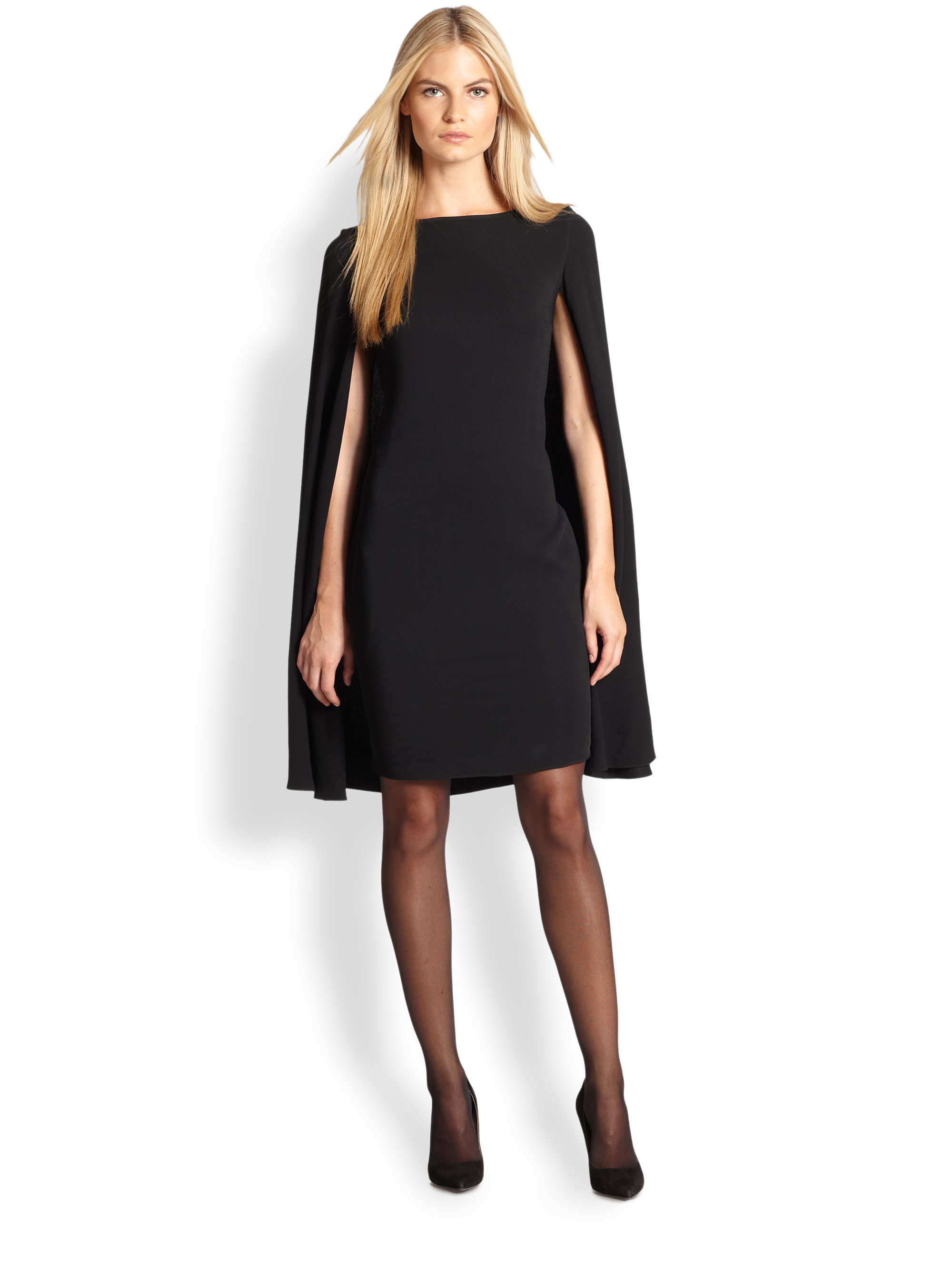 ralph lauren black label ashland cape dress in black