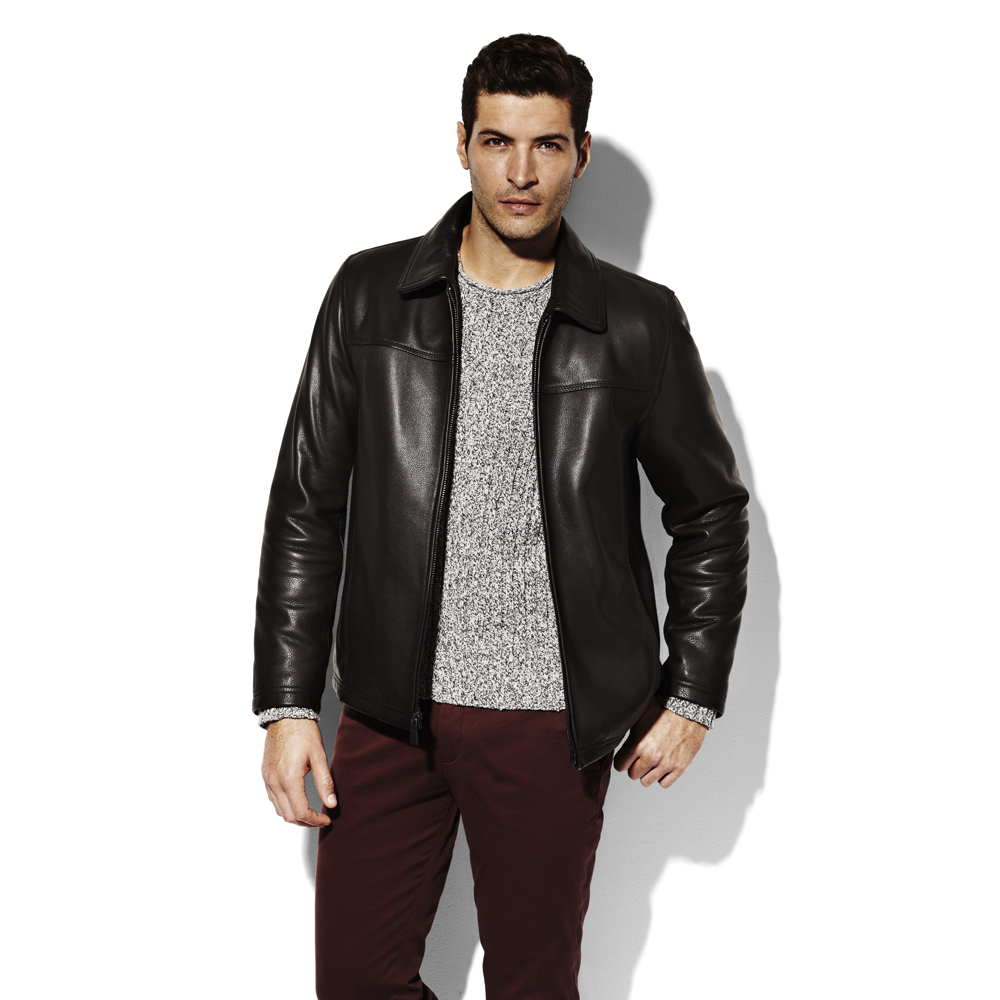 Vince Camuto Leather Bomber Jacket In Black For Men Lyst