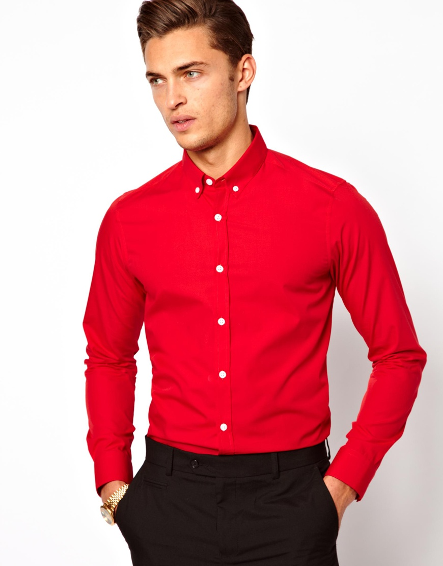 Asos Smart Shirt with Button Down Collar in Red for Men | Lyst