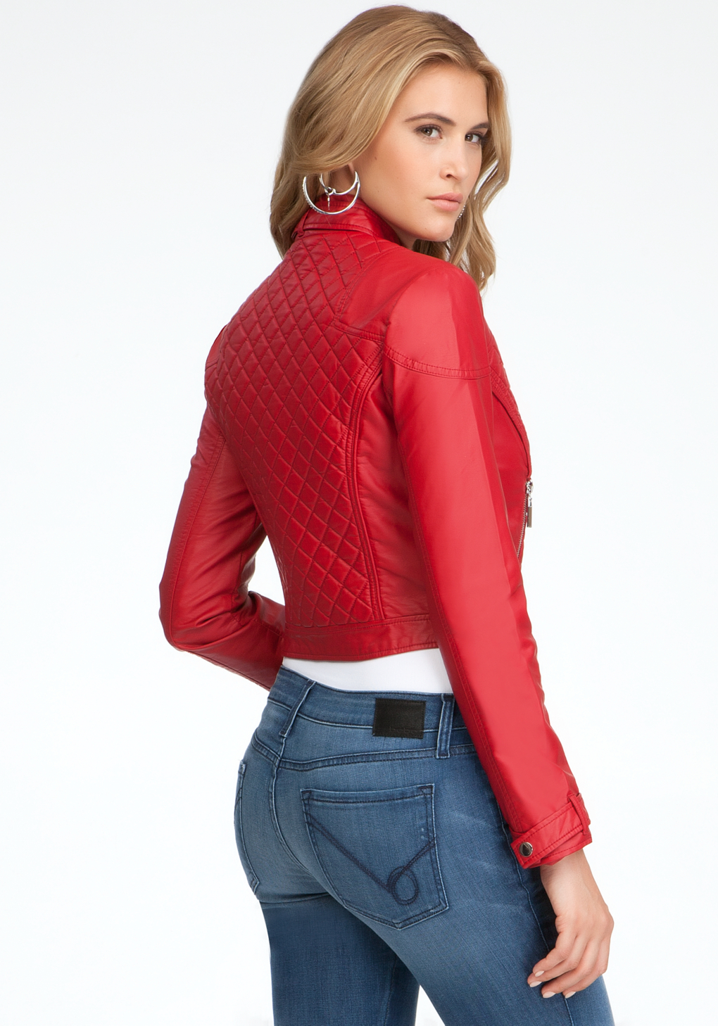 Bebe Quilted Crop Jacket In Red Lyst