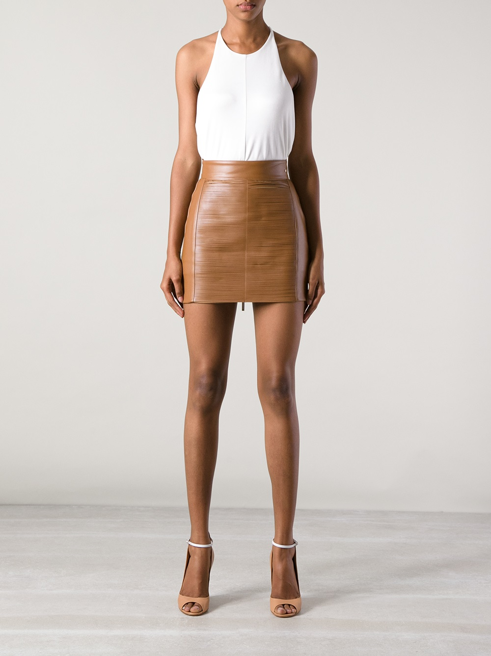 Elisabetta franchi Leather Mini Skirt in Brown | Lyst