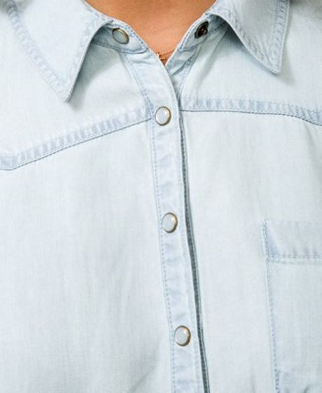 Forever 21 pearl snap button chambray shirt in blue light for Mens shirts with snaps instead of buttons