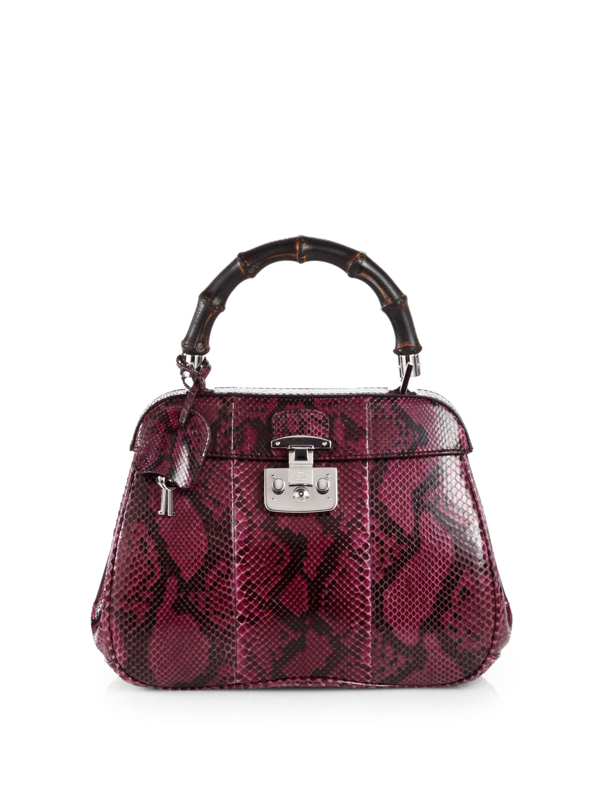 f31fbf859fd Lyst - Gucci Lady Lock Python Top Handle Bag in Purple